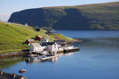 Fishing village Akkarfjord in summer — Stockfoto