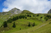 Summer view from the pass of Tourmalet in Pyrenees — Stock Photo