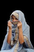 Caucasian woman in the Malaysian sari — Stock Photo