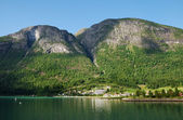 Town near the fjord under the mountain — Stock Photo