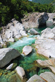 Mountain river Verzaska in summer Alps. — ストック写真