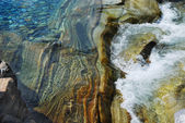 Multicolored stony ground of mountain river Verzaska. — Stock Photo
