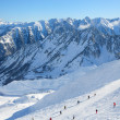Alpine ski slope in winter Pyrenees. — Stock Photo