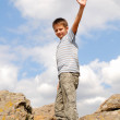 Pre-teen boy at a summit — Stock Photo