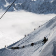 Snow slope with mountain-skiers, Mont Blanc — Foto Stock