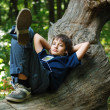 Boy with gadget in forest — Stock Photo #34256189