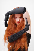 Close-up of serious ginger witch — Stock Photo