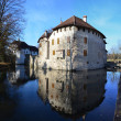 Stock Photo: Panoramof Hallwyl castle on lake Hallwil.