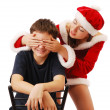 Pretty Santa playing with the boy. — Stock Photo