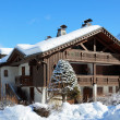 Alpine chalet in the winter mountains — Stock Photo