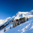 Snow hill with skiing pistes — Foto Stock