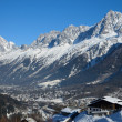 Stock Photo: Sunlit valley of Chamonix in winter