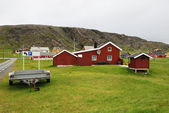 Norwegian fishing village in summer. Finnmark. — Stock Photo