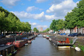 Canal in the Dutch town — Stock Photo