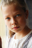 Close-up of sad pre-teen girl. — Stock Photo