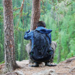 Tourist on the top of taiga forest. — Stock Photo