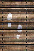 Close-up of the footprint on wood floor — ストック写真
