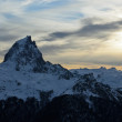 The pic du Midi d'Ossau at sunset in French Pyrenees. — Stock Photo