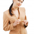 Stock Photo: Attentive businesswoman.