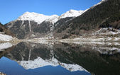 Winter view of mountain lake in Atlantic Pyrenees. — Stock Photo