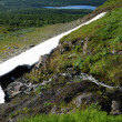 Melting snowfield on green slope of mountain. — Stock Photo #41662303