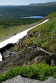 Melting snowfield on the green slope of mountain. — Stock Photo