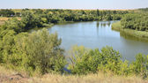 Calm river in the Ukrainian steppe — Stock Photo