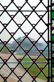 Close-up of the stained-glass window — Stock Photo