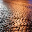 Постер, плакат: Belgian block pavement of the night city