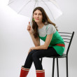 Girl in the rubber boots under an umbrella — Stock Photo