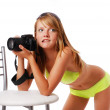 Sexy girl with camera — Stock Photo