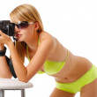 Pretty woman photographing with camera — Stock Photo