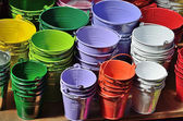 Collection of the varicolored metal buckets — Stock Photo