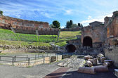 Greek theater in the ancient town Taormina — Stock Photo