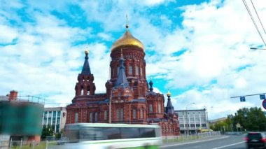 Church of the Epiphany. St. Petersburg. Russia. timelapse — ストックビデオ