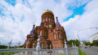 Church of the Epiphany. St. Petersburg. Russia. timelapse — 图库视频影像