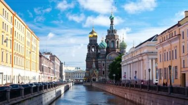Church of the Savior on the Spilled Blood. St. Petersburg. Russia. timelapse — 图库视频影像