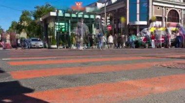 Feet of people walking. City rush. St. Petersburg. Russia — Stock Video