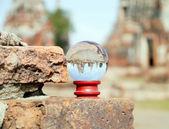 Chaiwattanaram temple in glass ball. — Photo