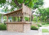 公園で竹ブース. — ストック写真