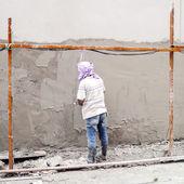 Plasterer plastering — Stock Photo