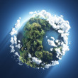 Small planet with oceans, trees and clouds — Stock Photo