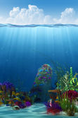 Waterline and underwater background — Stock Photo
