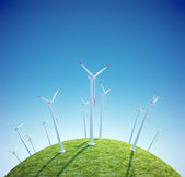 Wind turbines farm on a small green planet — Stock Photo