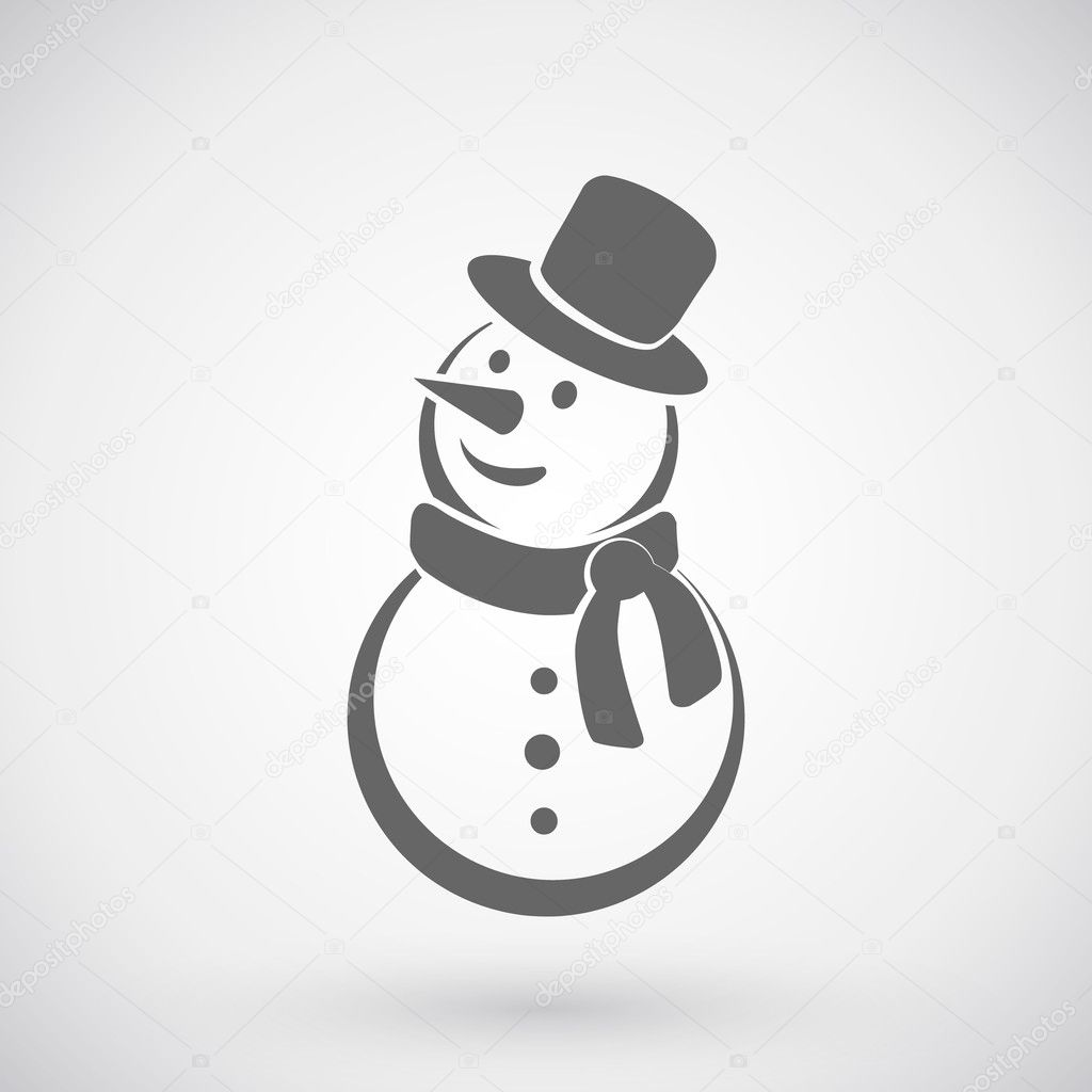 Happy Winter Snowman With Hat And Scarf Line Art Icon For Apps ...