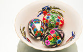 Colorful hand painted Easter eggs — Stock Photo