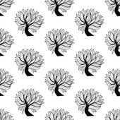 Seamless pattern background, black and white tree — Stock Vector