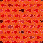 Seamless abstract pattern, wits red and orage fish — Stock Vector
