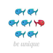 Be unique concept, blue and red fish, isolated — Stock Vector