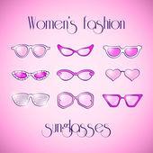 Las mujeres de moda las gafas de sol rosa — Vector de stock